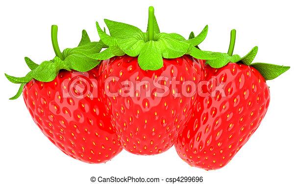 Tres fresas aisladas sobre el blanco - csp4299696