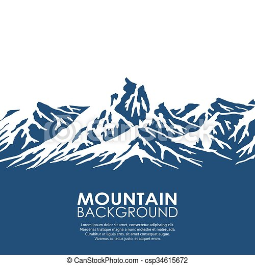 Rango de montaña aislado en el fondo blanco - csp34615672