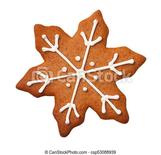 Una galleta de jengibre de Navidad aislada en fondo blanco - csp53088939