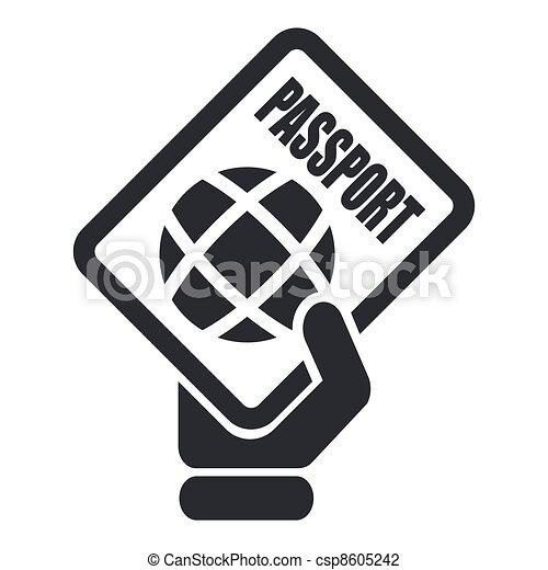 aislado, ilustración, solo, vector, pasaporte, icono - csp8605242