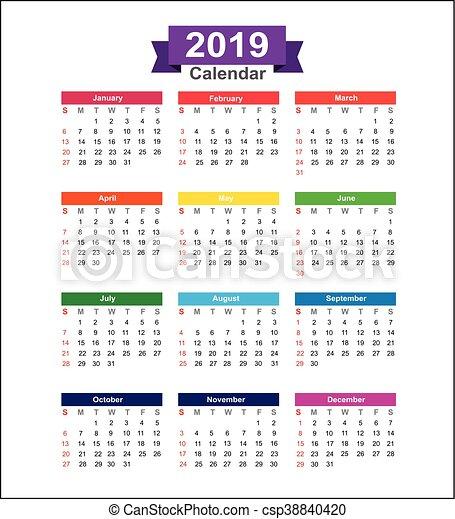 Calendario En Blanco.Aislado Ilustracion Vector 2019 Plano De Fondo Ano Calendario Blanco