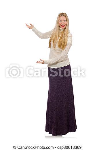 Una chica bonita con vestido largo violeta aislada en blanco - csp30613369