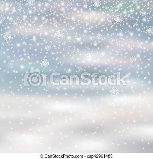 La nieve de decoración de Navidad se aisló en un fondo borroso, - csp42961483