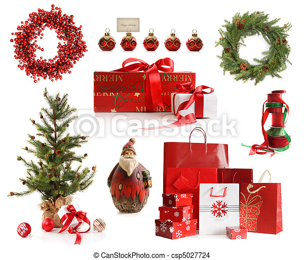 Un grupo de objetos navideños aislados en blanco - csp5027724