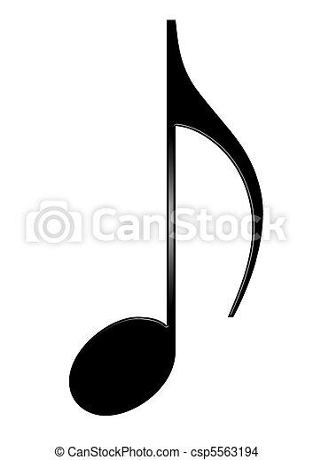 Una octava nota musical aislada en fondo blanco - csp5563194