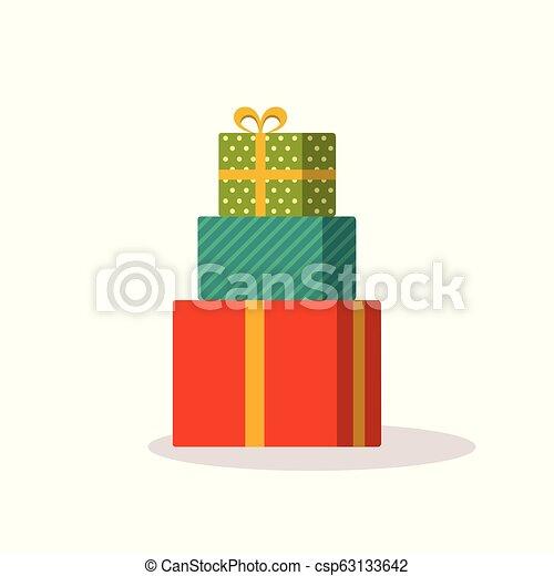 Retro regalos de Navidad de Navidad aislados en blanco - csp63133642