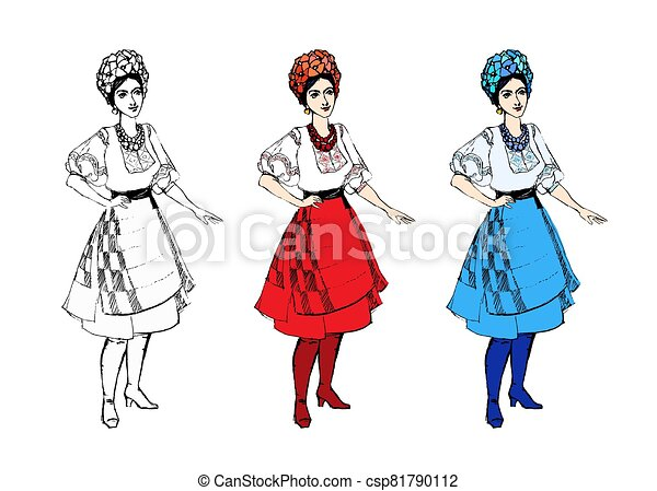 aislado, ropa, mujer, colorido, tradicional, caricatura, disfraz, conjunto, niña, blanco, ucranio, negro - csp81790112