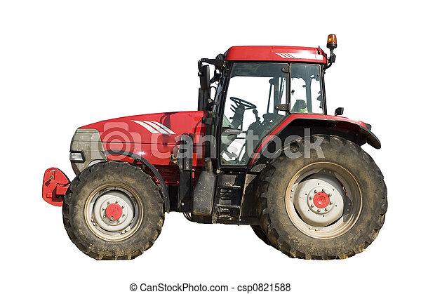 Un tractor rojo aislado - csp0821588