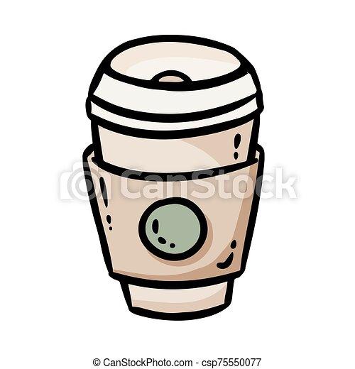 aislado, vector, doodle., café, ir, icon., logo., taza, social, tiempo, medios, toque de luz - csp75550077