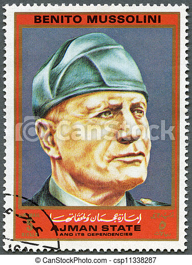 AJMAN - CIRCA 1972: A stamp printed in Ajman shows Benito Mussolini (1883-1945), series Figures from the Second World War, circa 1972 - csp11338287