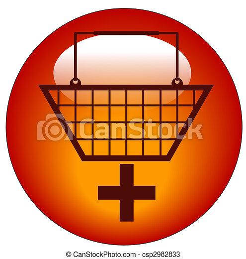 ajouter, signe, achats, -, charrette, icône, plus, panier - csp2982833