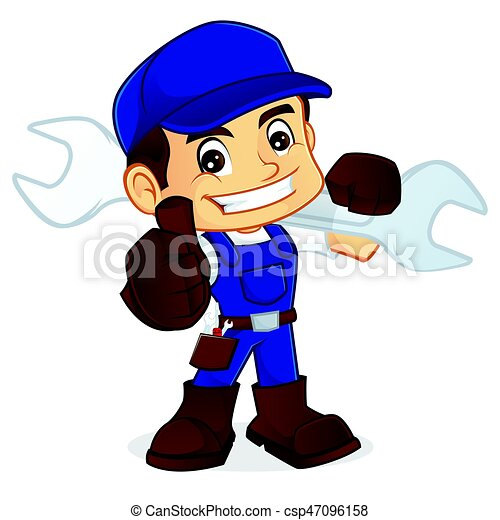 Handyman llevando una llave ajustable y dando pulgar arriba - csp47096158