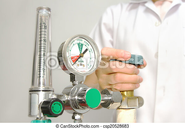 ajuste, válvula, oxígeno, doctor - csp20528683