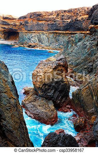 Ajuy Caleta Negra beach in Fuerteventura - csp33958167