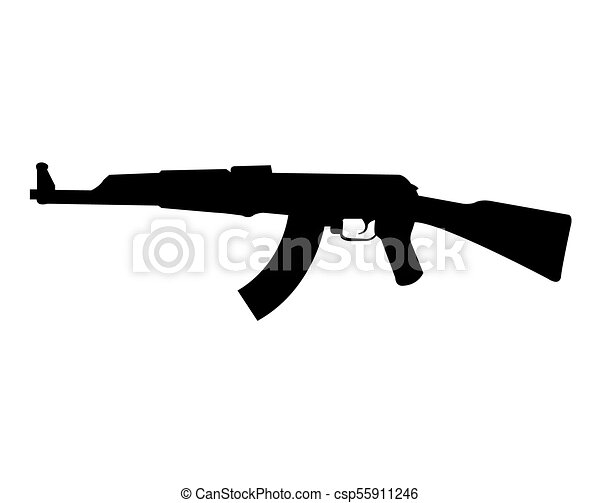 ak 47 rifle silhouette rh canstockphoto com Uzi Clip Art Pistol Clip Art