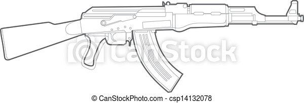 ak47 silhouette vector kalashnikov gun on white background
