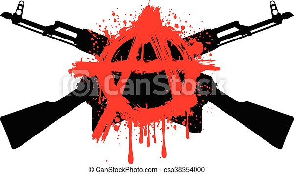 Ak47 Symbol Anarchy Vector Illustration Two Crossed Gun Machine And