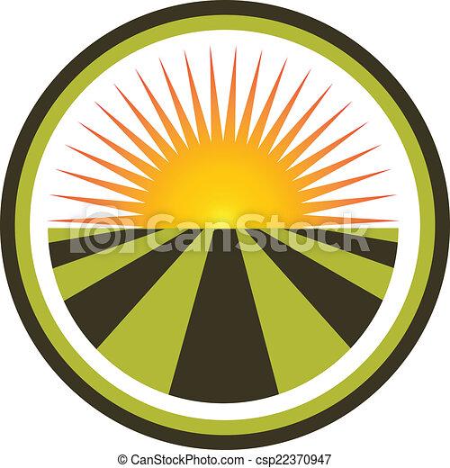 akker, vector, ondergaande zon , logo - csp22370947