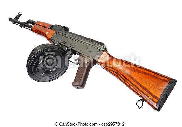 AKM Kalashnikov assault rifle with 75 Round Drum Magazine - csp29573121