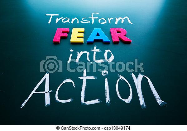 aktiv, fürchten, begriff, umformen - csp13049174
