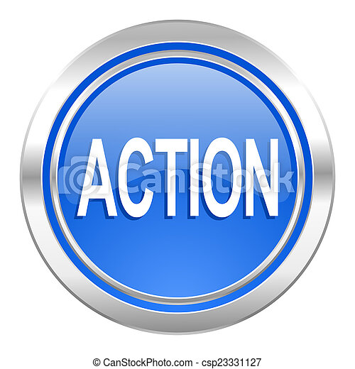 Action Icon, blauer Knopf - csp23331127