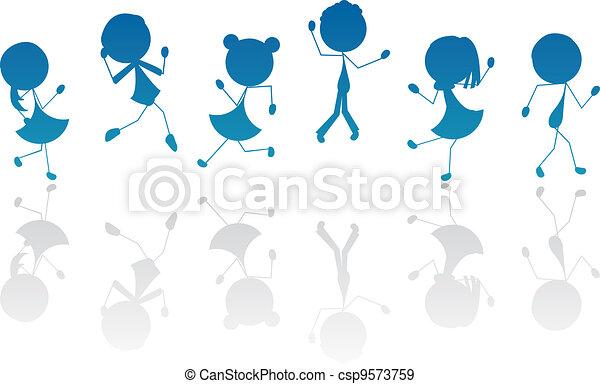 aktiv, silhuett, barn, käpp, tecknad film - csp9573759