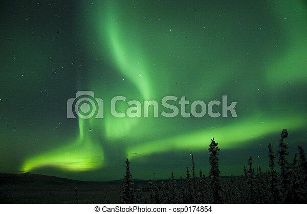 aktive, borealis, polarlicht, bogen, spaltung - csp0174854