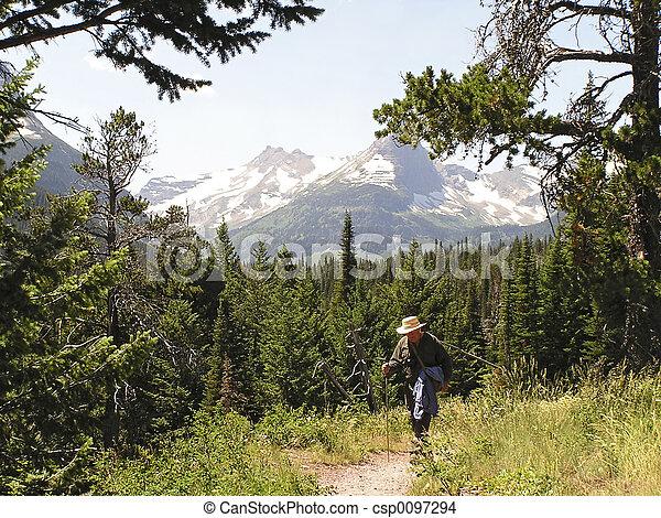 Senior aktiver Wanderer auf dem Weg - csp0097294