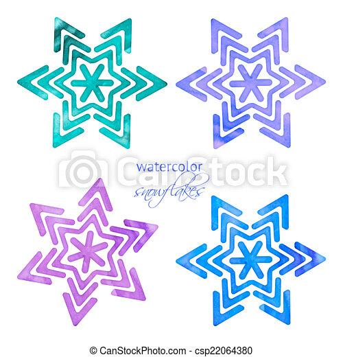 akwarela, komplet, płatki śniegu - csp22064380