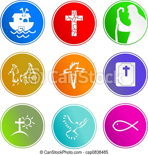 aláír, keresztény, ikonok - csp0838485
