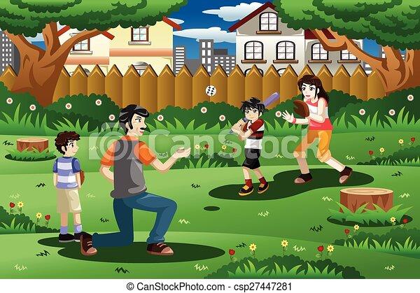 Al Aire Libre Beisball Juego Familia Al Aire Libre Familia