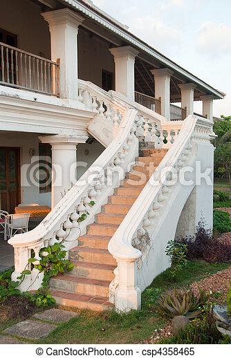 Al aire libre escalera colonial exterior escalera - Escaleras al aire ...