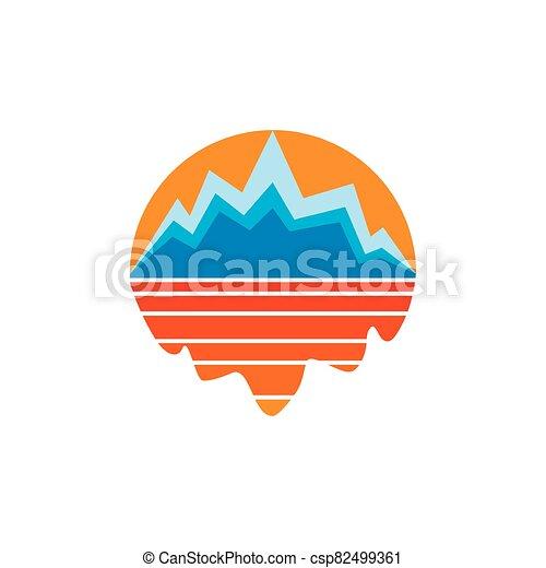 al aire libre, mar, montaña, vector, sol, sombra, logotipo - csp82499361