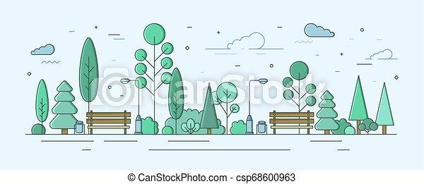 Al parque o al jardín con árboles, arbustos e instalaciones de la calle. Zona recreativa exterior o zona. Ilustración creativa de vectores coloridos en estilo lineal moderno para la planificación de ubicación pública urbana. - csp68600963