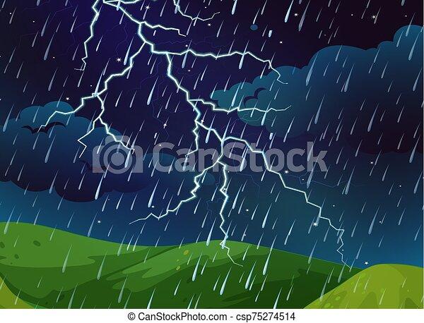 al aire libre, naturaleza, tormenta, escena - csp75274514