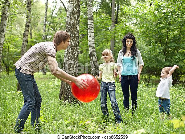 Al Aire Libre Pelota Juego Familia Feliz Pelota Familia