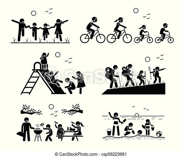 Actividades recreativas familiares al aire libre. - csp56223681