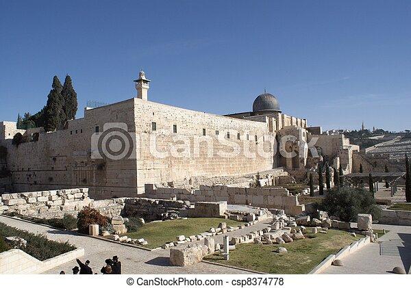 Al Aqsa mosque in jerusalem holy land - csp8374778