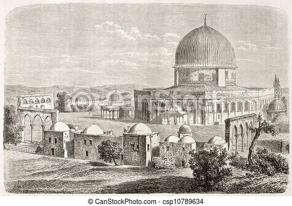 Line Drawing Jerusalem : Old view of al aqsa mosquee jerusalem created by lancelot