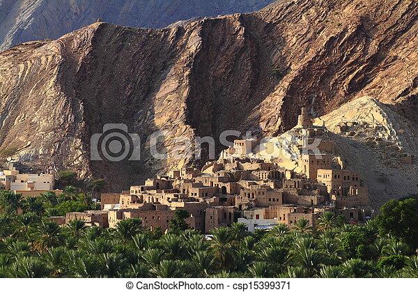 Abandonado pueblo de Birkat al-mawz - csp15399371