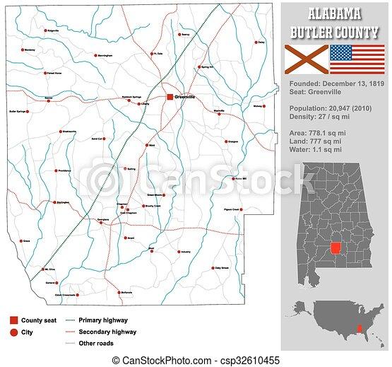 Alabama Bullock County Map - csp32610455