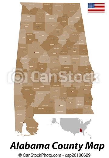 Alabama County Map - csp20106629