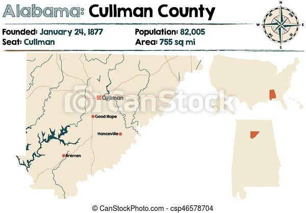 Alabama: cullman county map. Large and detailed map of cullman ...