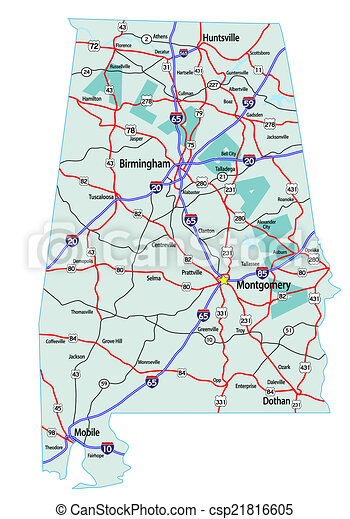 Vector Clipart Of Alabama Interstate Highway Map Alabama State - Alabama highway map