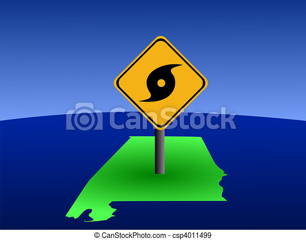 Alabama map with hurricane sign - csp4011499