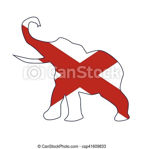 Alabama Republican Elephant Flag - csp41609833