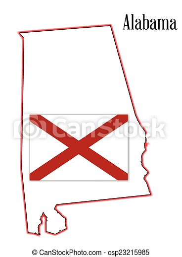 Alabama State Flag And Map State Map Outline Of Alabama Over A