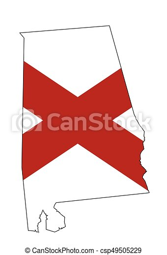 Alabama State Flag And Outline Map State Map Outline Of Alabama