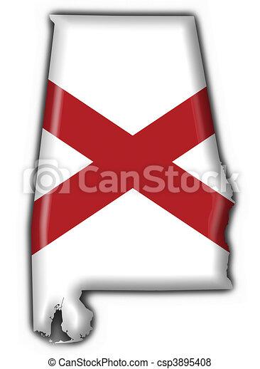 Stock Illustration Of Alabama USA State Button Flag Map Shape - Usa map shape