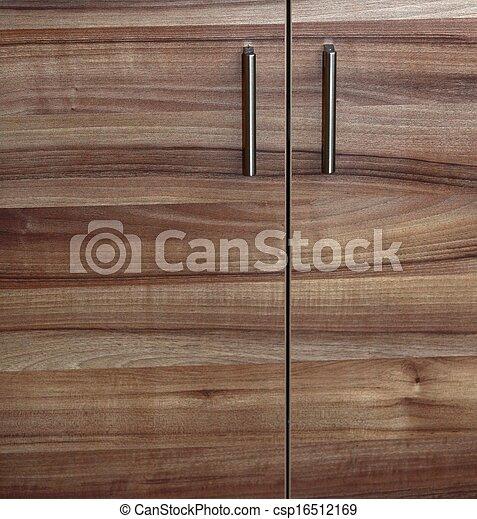 Alacena, madera, puerta, gabinetede cocina. Primer plano,... imagen ...